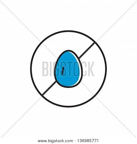 Illustration of crossed egg in circle. Egg free sign, food, products, allergy. Free allergen product concept. Can be used for topics like food, shopping, nutrition