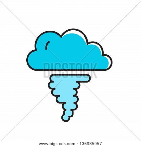 Cloud and hurricane funnel illustration. Hurricane, weather, tornado, weather forecast. Weather concept. Can be used for topics like weather, meteorology, weather forecast