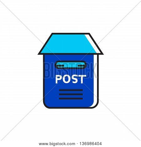 Postbox illustration. Letter, correspondence, post office. Post concept. Can be used for topics like correspondence, post, communication