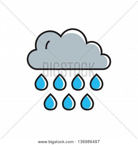 Cloud with raindrops illustration. Cloudy weather, rain, weather forecast. Weather concept. Can be used for topics like weather, climate, meteorology, weather forecast
