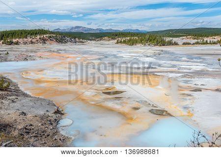 Steaming hot springs in Norris Geyser Basin in Yellowstone National Park