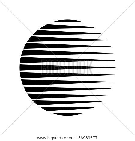 Round circle triangle lines halftone style black background. Sun moon earth or other sphere object stylized.