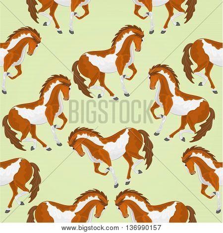 Seamless texture piebald horses stallions vector illustration