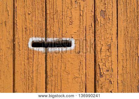 Wooden Letterbox On Dark Orange Wood