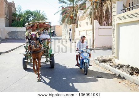 Carriage In Street Of Tozeur Oasis
