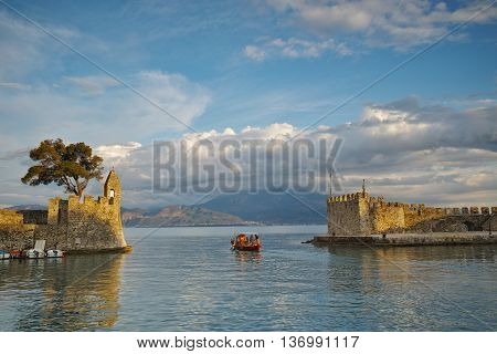 Panoramic view of the port of Nafpaktos town, Western Greece