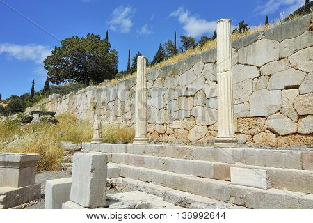 Colums in Ancient Greek archaeological site of Delphi,Central Greece