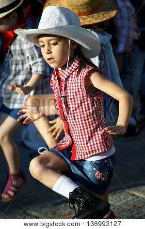 Montenegro, Herceg Novi - 04/06/2016: Dance cowboys. 10 International Children's Carnival