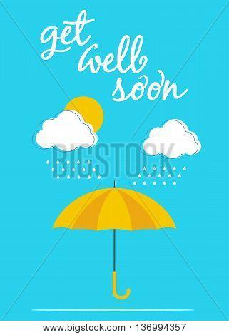 Color umbrella card poster