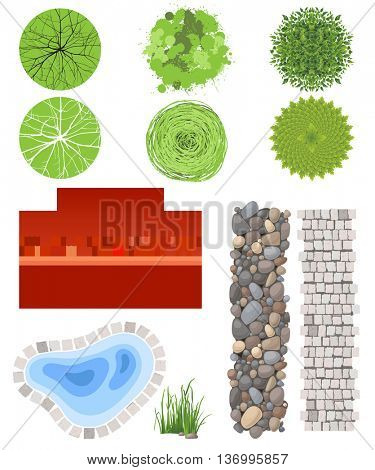 Highly detailed landscape design elements - easy to make your own plan!