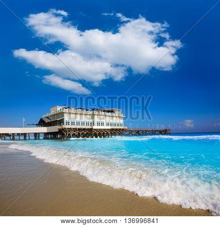 Daytona Beach in Florida with pier and coastline USA