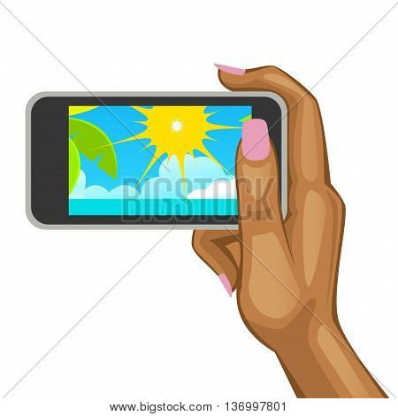 Woman's hand holding the smart phone with view of the beach. Vector illustration
