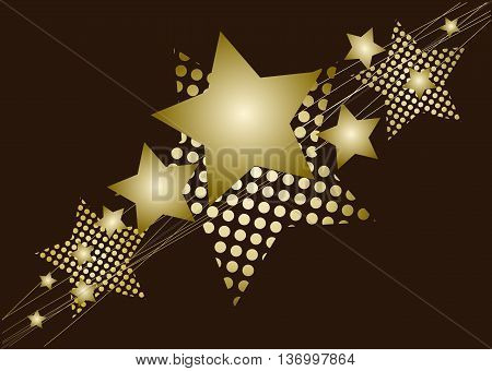 Golden Christmas star - on brown background