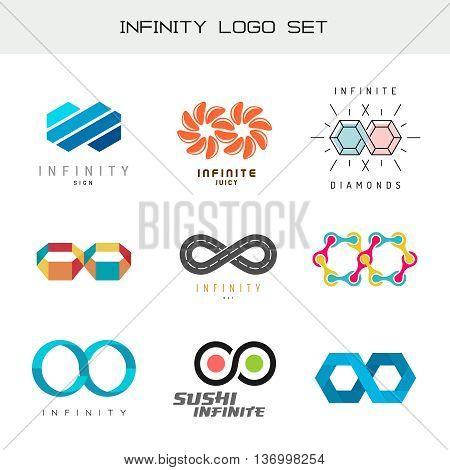 Infinity logo set. Infinity color symbols. Infiniti symbols.