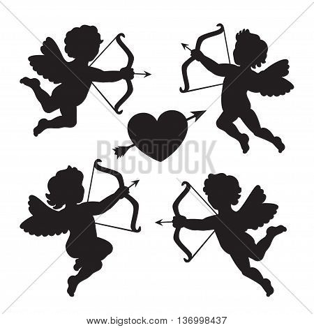 Black silhouette of a cupids. Design for Valentines day. Vector illustration