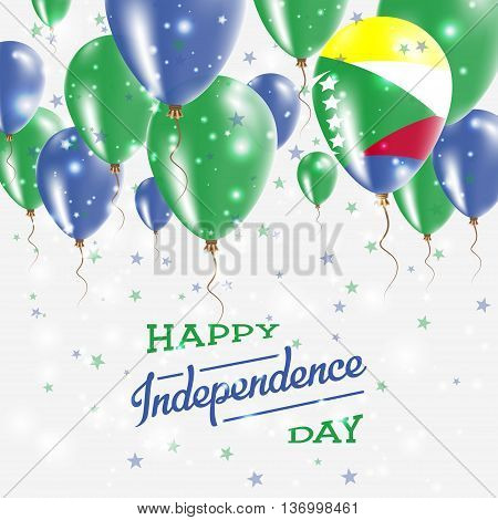 Comoros Vector Patriotic Poster. Independence Day Placard With Bright Colorful Balloons Of Country N