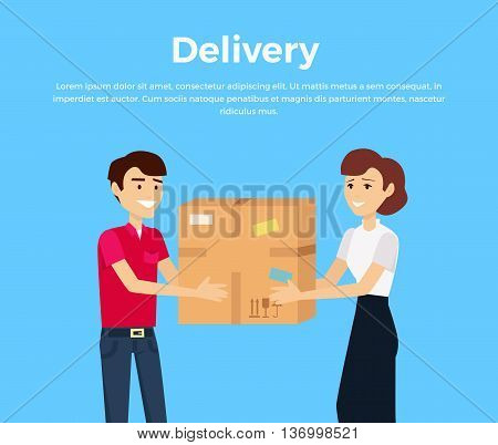 Profession courier with box. Delivery man, delivery icon, free delivery, delivery parcel, service delivery, person profession character courier postman. Courier gives box a woman. Vector illustration