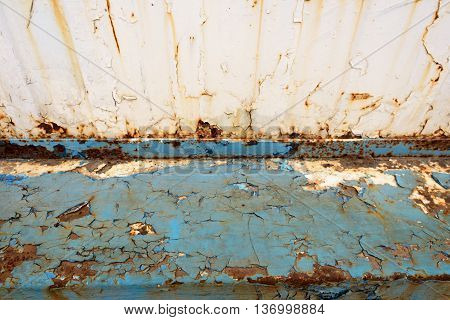 Rusted Metal Blue Girder And Flaking Paint