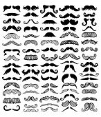 Black silhouette vector mustache. Mustache black hair and man mustache hipster set. Mustache retro curly black silhouette collection beard mustache. Mustache barber silhouette hairstyle poster
