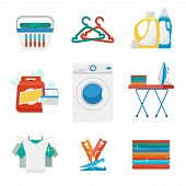 Laundry flat icons. Washing and laundry signs. Laundry clean icon, laundry machine, appliance washing and laundry. Vector illustration poster