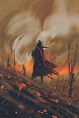 wizard in black cloak standing against burning forest, illustration painting poster