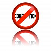 3D sphere no corruption sign with reflection poster