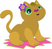This cute kitten is wearing her favorite spiral flower. poster