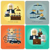 Legal services, law and order, justice vector flat concept set. Honest judge, justice system, crime investigation, lawyer service, banner set illustration poster