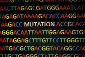 DNA sequence with colored letters on black background containing mutation poster