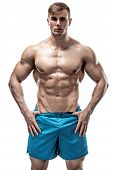 Strong Athletic Man showing muscular body and sixpack abs over white background poster