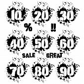 Grunge dozens of numerals with splashes icon set in black and white. Decades of numbers in spatters from 10 to 90 also sale and percent lettering as bonus. Isolated on white. Vector illustration poster