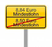 8,84 Euro minimum wage - in german - iilustration poster