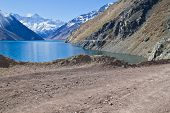 Embalse el Yeso reservoir in San Jose del Maipo Chile poster