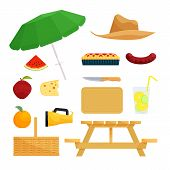 Set of objects for picnic. Food and basket, barbecue and recreation, vector illustration poster