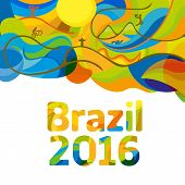 Rio 2016 abstract colorful background. Sport Brazil background. Summer color of Olympic games 2016 wallpaper. Vector template for backgrounds cards web and journals. Athletes icon. poster