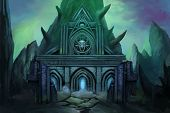 Dark Temple. Video Game's Digital CG Artwork, Concept Illustration, Realistic Cartoon Style Background poster