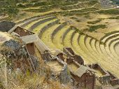 Pisac (Spanish Pisac, Quechua P'isaq) - a town in Peru and the ancient stronghold of the Incas, located 33 kilometers from Cuzco. Pisac is located in the Valle Sagrado, Sacred Valley of the Incas in Urubamba River. poster