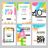 Set of social media sale banners template. Hand drawn vector illustrations for website and mobile website banners, posters, email and newsletter designs, ads, promotional material. poster
