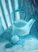 Abstract background painting of a chair and tea pot mostly blue color. poster