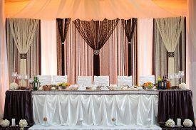 Wedding table setting. scenery glamorous wedding .