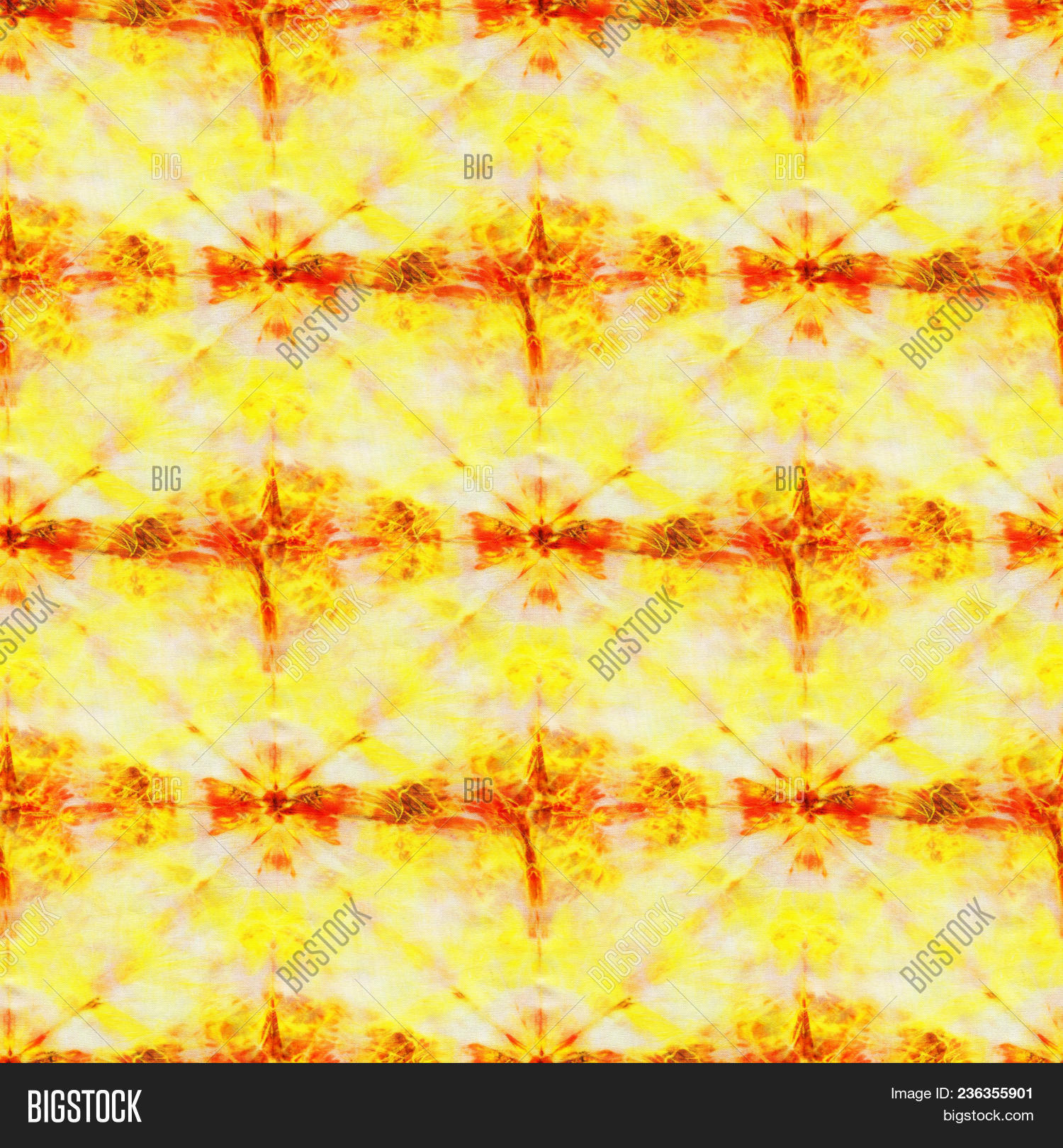 47bc6758b374 Seamless tie-dye pattern of yellow and red color on white silk. Hand  painting fabrics - nodular batik. Shibori dyeing.