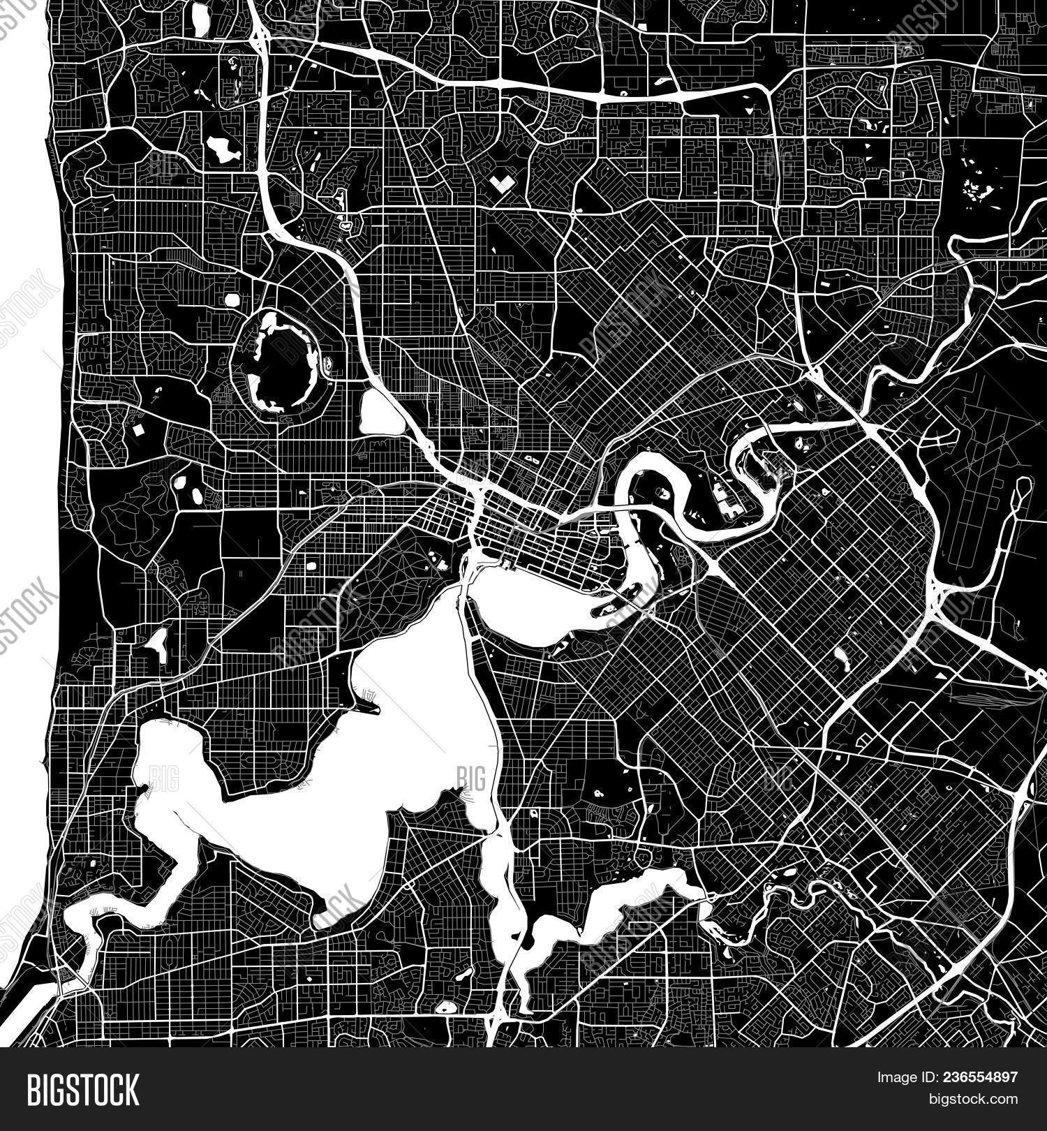 area map of perth australia dark background version for infographic and marketing projects