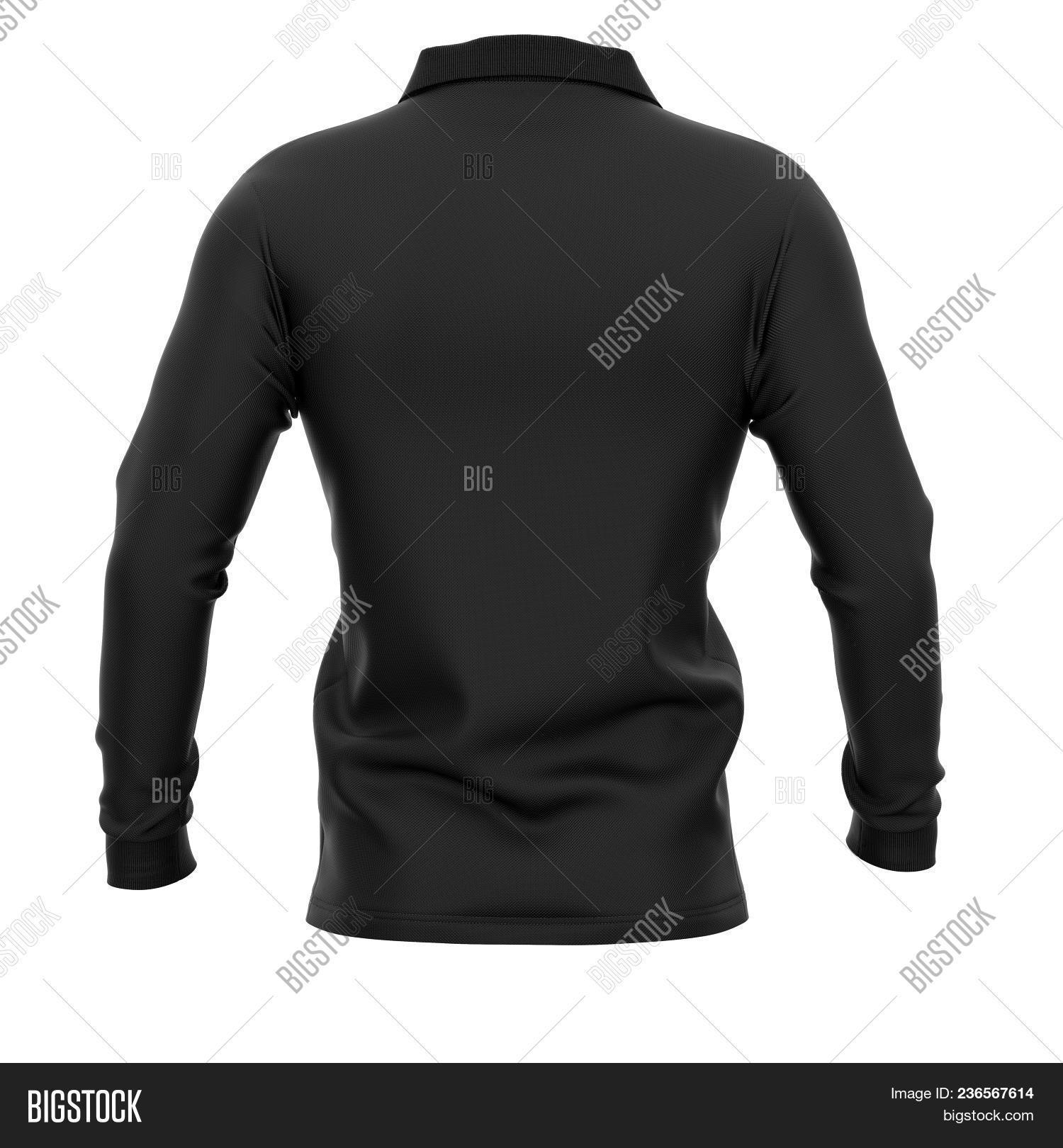 2880c57f8bc207 Men's polo shirt with long sleeves. Back view. 3d rendering. Clipping paths  included