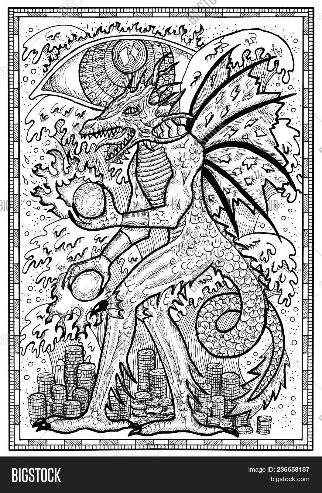 Dragon Symbol Frame Image Photo Free Trial Bigstock