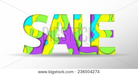 Sale text. Black Friday design template. Summer sale text. Vector illustration. Big Sale banner. Sale background. Sale sticker. Eps10. Sale offer. Paper cut background. Realistic 3D trendy style. Summer sale text. Special offer banner papercut design.