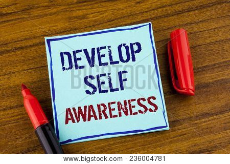 Word Writing Text Develop Self Awareness. Business Concept For What You Think You Become Motivate An