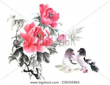 peony flower and birds,Traditional chinese ink and wash painting.