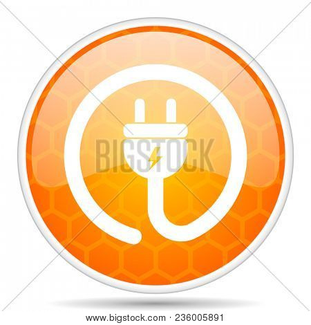 Electric plug web icon. Round orange glossy internet button for webdesign.