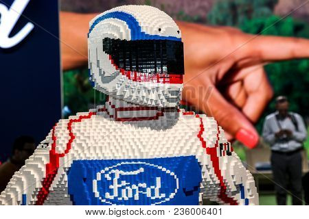 NEW YORK CITY-MARCH 28: Ford figuere made from Lego shown at the New York International Auto Show 2018, at the Jacob Javits Center. This was Press Preview Day One of NYIAS, on March 28, 2018.