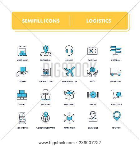 Line Icons Set. Logistics Pack. Vector Illustration For Cargo Transportation.